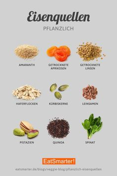 Vegetable iron sources for vegans and vegetarians- Pflanzliche Eisenquellen für Veganer und Vegetarier We'll tell you the best vegetable sources of iron for vegans and vegetarians here. Diet And Nutrition, Health Diet, Nutrition Guide, Holistic Nutrition, Diet Recipes, Vegan Recipes, Smoothie Recipes, Healthy Life, Healthy Eating