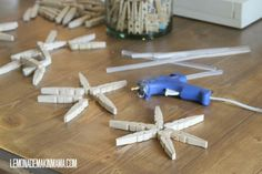 snowflakes ornaments from clothespins