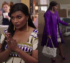 """Pray for a Mindy Lahiri clothing line if you want incredible print dresses and embellished coats like this tassel print and tasseled ensemble worn in """"Is That All There Is?""""!  Dress and coat, custom. Bag by Chanel."""