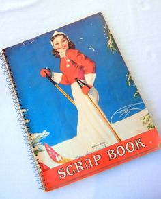 40s Scrapbook Winter Queen Lady Skier with Poems and Flower Ephemera Inside, Used, Spiral Bound