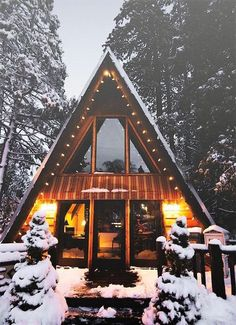 Noel or Christmas House Decoration style! Mid Century Modern A-Frame House all decked up for the Winter Season! A Frame Cabin, A Frame House, Winter Cabin, Cozy Cabin, Cozy Winter, Winter House, Cabin Homes, Log Homes, Boho Home