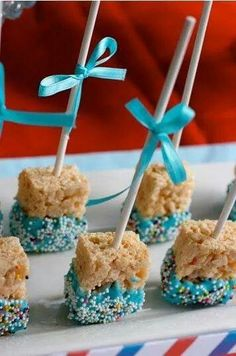 Simple shower, party, holiday,or celebration treats! Rice crispy treats, icing(or chocolate), & sprinkles!