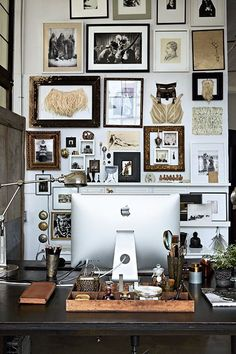 How To Organize Your Stuff, A Cheater's Guide #refinery29 http://www.refinery29.com/hilary-roberston-home-decor-tips#slide3 Frame Your Inspiration Inspiration walls and mood boards have been done to death. One way to make your motivations more visually interesting is to frame them! Because of the tightly hung wall of squares and rectangles, even the computer monitor fits right in and looks inspiring.