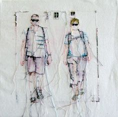 "Textil Kunst: Urlaub mit Sonne  this sewing ""sketch"" is absolutely lovely!"