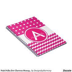 Pink Polka Dot Chevron Monogram Personalized Spiral Notebook