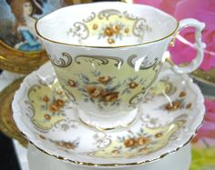 ROYAL ALBERT VICTORIAN'S TEA CUP AND SAUCER DUO SEPTEMBERS SONG YELLOW