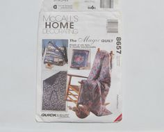 McCall's 8657 Magic Quilt to Pillow Pattern by TrinasCraftPatterns