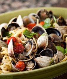 Cherry Tomato Red Clam Sauce w/ Linguine--Valentines Day dinner..find the best designer swimsuits out there SouthBeachSwimsuits.com