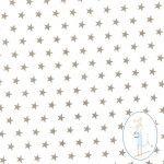 Tissu étoiles beige sur fond blanc 6116