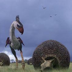 Phorusrhacos and Doedicurus eying each other skeptically Prehistoric Wildlife, Prehistoric World, Prehistoric Creatures, Walking With Dinosaurs, Jurassic Park, Jurassic World, Dinosaur Art, Extinct Animals, Weird Creatures