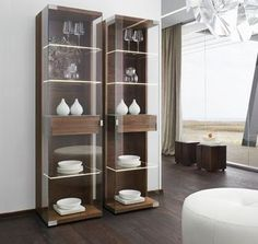 Stylish wood and glass Nox display cabinets by Team 7