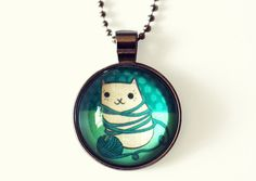 CAT NECKLACE (glass pendant) by boygirlparty, yarn cat glass pendant necklace, cat jewelry