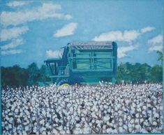 Cotton Picker And Cotton Field by Terry Forrest