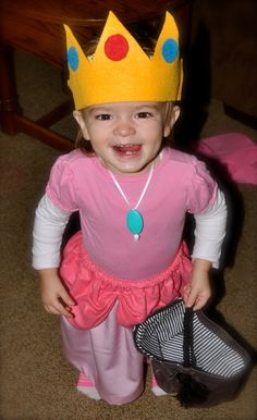 Easy DIY Princess peach costume. Felt crown handmade skirt and a shirt/onsie  sc 1 st  Pinterest & diy princess and frog halloween costume ideas | Mario and Princess ...