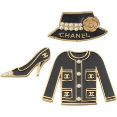 Set of Chanel Enameled Metal Jacket, Shoe Hat Pins w/CC Logo, Camilia... ❤ liked on Polyvore featuring jewelry, brooches, pearl brooch, flower pin brooch, black jewelry, metal flower brooches and pin brooch