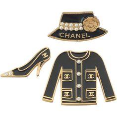 Set of Chanel Enameled Metal Jacket, Shoe & Hat Pins w/CC Logo, Camilia & Pearls Black Jewelry, Metal Jewelry, Jewelry Logo, Chanel Jewelry, Fashion Jewelry, Jewlery, Estilo Coco Chanel, Chanel Style Jacket, Chanel Brooch