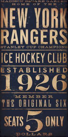 ZsaZsa Bellagio.  New York Rangers ice hockey club, est 1926: $5.00!