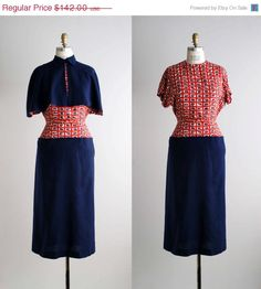 30% OFF SALE 40s dress / 1940s rayon capelet dress / Cantabria dress. $99.40, via Etsy.