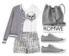 """ROMWE Print T-shirt - 10112016"" by filmaandry ❤ liked on Polyvore featuring Boutique Moschino, Converse and Lancaster"