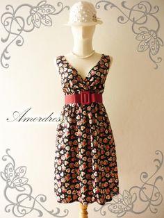 ON SALE Amor Vintage Inspired Dress Heart and Floral by Amordress, $33.20