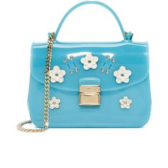 Furla Candy Lilla Sugar Mini Cross Body Bag ($235) ❤ liked on Polyvore featuring bags, handbags, shoulder bags, blue leather purse, chain shoulder bag, leather crossbody purse, leather crossbody handbags and leather shoulder bag