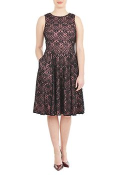 #Graphic #lace fit-and-flare dress from eShakti