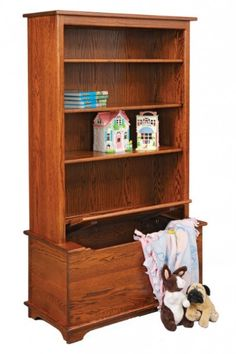 Bookcase/shelves with integrated flip top toy box.  Built-in idea?  LOVE THIS!!!!