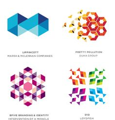 2012 Logo Trends By Bill Gardner: Tessellation  This is a perfect example of watching a trend progress in a way that proves that designers are evolving and not emulating. Here, multiple geometric shapes are gathered in a series to cover an area with a repeatable pattern. Often the individual components share a common color palette that creates the effect of overlaps and transparency.