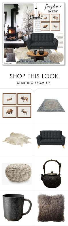 """Fireplace Decor"" by angelicallxx ❤ liked on Polyvore featuring interior, interiors, interior design, home, home decor, interior decorating, Zara Home, L'Objet, Pom Pom at Home and fireplace"