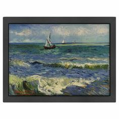"Framed reproduction print of Vincent Van Gogh's Seascape Near Sainte Marie.   Product: Framed wall artConstruction Material: Matte paper, wood and Italian gessoColor: Black frameFeatures:  Reproduction of original art by Vincent Van GoghD-ring hanger on back complete with turn-buttonsDigitally printed designs on 110 pound matte paper Dimensions: 20.5"" H x 26.5"" WCleaning and Care: Keep out of direct sunlight"