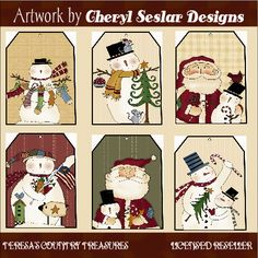 free primitive labels to print   christmas tags two printable folkart christmas tags two printable ...