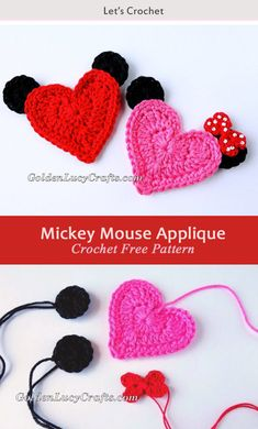 This Mickey Mouse Heart Applique Crochet Free Pattern is a great Applique for Disney lovers. Make one now with the free pattern provided by the link below. Crochet Bow Pattern, Crochet Applique Patterns Free, Free Pattern, Crochet Mickey Mouse, Crochet Disney, Crochet Gratis, Free Crochet, Crochet Pouch, Beginner Crochet