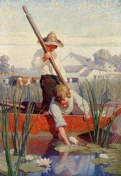 N.C. WYETH, Two Boys In A Punt, Oil on Canvas, 37″ x 26″
