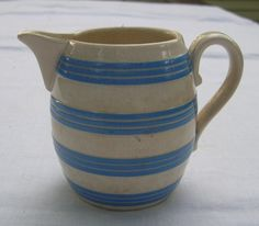 Antique Villeroy and Boch Cream Pitcher -- Blue Striped. $28.00, via Etsy.