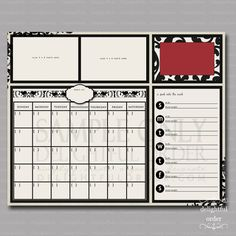 16x20 Red Damask Everyday Message Center (JPEG Digital File) - Instant Download - You Print - You Frame