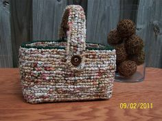 """This basket is called """"locker hook"""".  My next project is making a rug in this art form."""