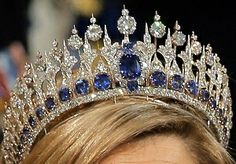 Clear image of the Dutch Sapphire tiara. - a true blue stunner! / The beauty of the clear and blue jewels in one tiara is wonderful! Royal Crown Jewels, Royal Crowns, Royal Tiaras, Royal Jewelry, Tiaras And Crowns, Diamond Jewelry, Fine Jewelry, Diamond Tiara, Circlet