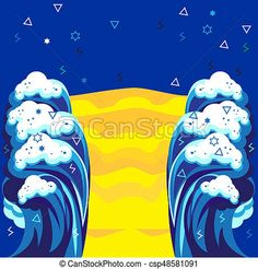 Abstract sea waves and blue sky poster. modern art design stock illustration - Search Vector Clipart, Drawings, and EPS Graphics Images - csp48581091