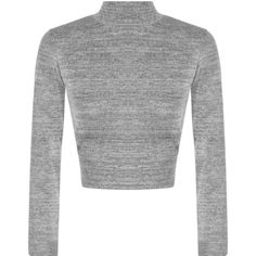 Lou Knitted Turtle Neck Long Sleeve Crop Top (40 SAR) ❤ liked on Polyvore featuring tops, grey, cropped turtleneck, turtle neck tops, grey crop top, long sleeve tops and party crop top