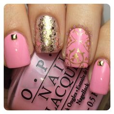 OPI Pink Friday stamped using Cheeky European Romance Jumbo Plate 3 in Maybelline Color Show Bold Gold. Glitter is Maybelline Color Show Giled Rose. Studs from Born Pretty store.