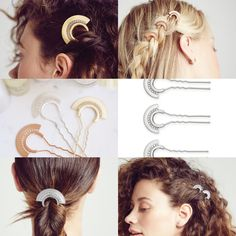 Crystal pavé fan hair pin. $32 for large pin. $24 set of three small. Silver, gold and rose gold.