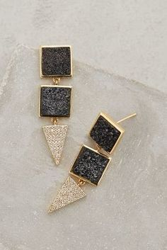 Melanie Auld Black Druzy Dagger Drops #anthrofave #anthropologie