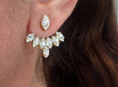 Ear jacket Gold crystal ear jacket Bridal by EldorTinaJewelry
