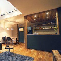 Kitchen/ダイニングテーブル/吹抜け/スポットライト/ペンダントライト/無垢の床...などのインテリア実例 - 2018-05-13 05:13:55 | RoomClip (ルームクリップ) House Plans, Dark Kitchen, Garage House, Room Interior Design, Kitchen Design, Kitchen Decor, House, Interior Design, House Interior