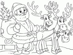Printable Santa And Reindeer Coloring Page - Christmas Coloring