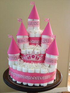 Princess Castle diaper cake inspired by Pinterest! It's my first attempt but I will get better.