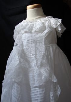 Maria Niforos - Fine Antique Lace, Linens & Textiles : Antique Christening Gowns & Children's Items # CI-85 Circa 1860's, Fine Handmade Valencienne Christening Gown