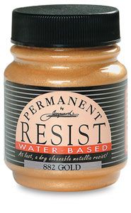 Gold, 2.25 oz  Jacquard's silkscreenable, colorless resist holds a crisp line without spreading, and will not shrink or pucker when dry. It can be colored with any water-based dye. It washes out easily with warm water, even after steaming. It's odorless, alcohol-free, and non-toxic.  The permanent metallic resist colors also have no fumes. They are completely permanent whether washed or dry-cleaned, and can be applied with a squeeze bottle.