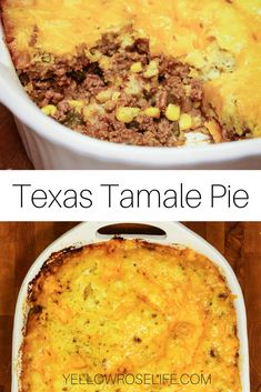 Texas Tamale Pie In Texas we love tamales. Texas Tamale Pie is a spin on beef tamales. Meat Recipes, Mexican Food Recipes, Cooking Recipes, Mexican Desserts, Freezer Recipes, Dinner Recipes, Freezer Cooking, Drink Recipes, Cooking Tips