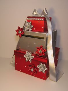 Red and Silver Wedding  Card Box Gift Card Box by bwithustudio